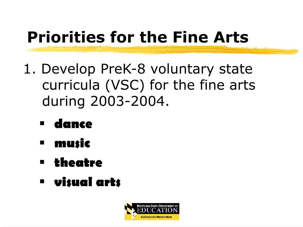 Priorities for the Fine Arts