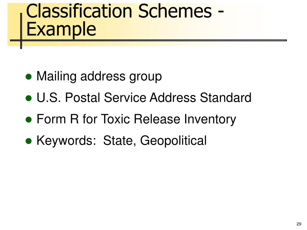 Classification Schemes - Example