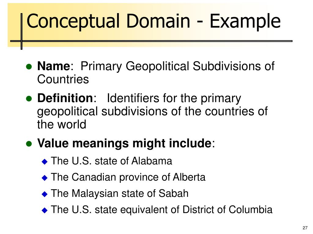 Conceptual Domain - Example