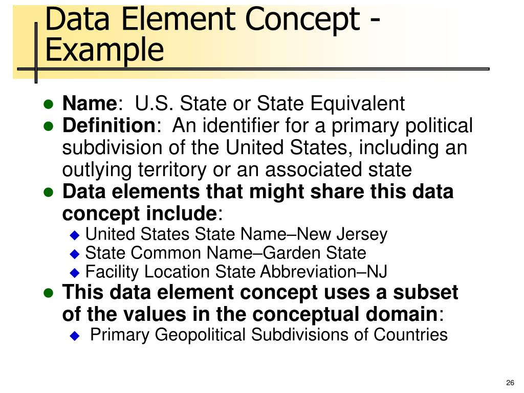 Data Element Concept - Example