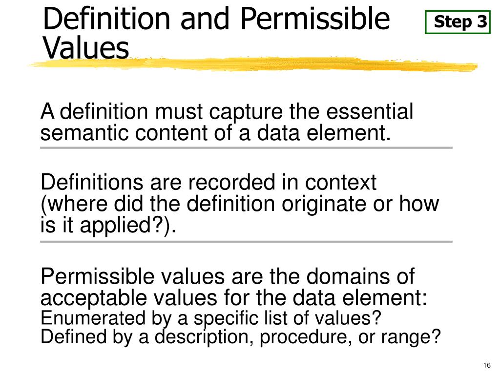 Definition and Permissible Values