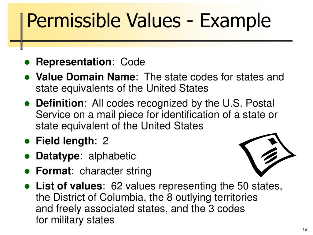 Permissible Values - Example