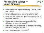permissible values value domain