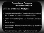 promotional program situation analysis