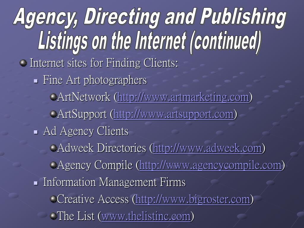 Agency, Directing and Publishing