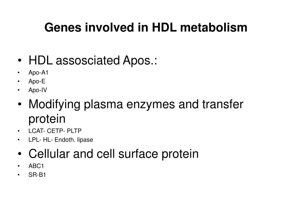 Genes involved in HDL metabolism