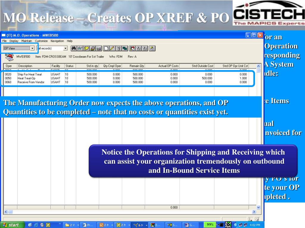 MO Release – Creates OP XREF & PO