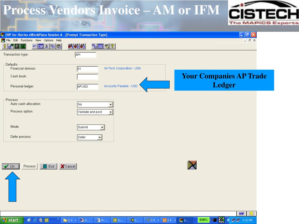 Process Vendors Invoice – AM or IFM