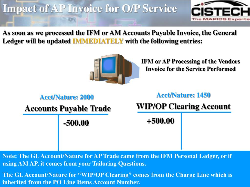 Impact of AP Invoice for O/P Service