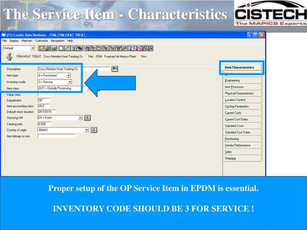 The Service Item - Characteristics
