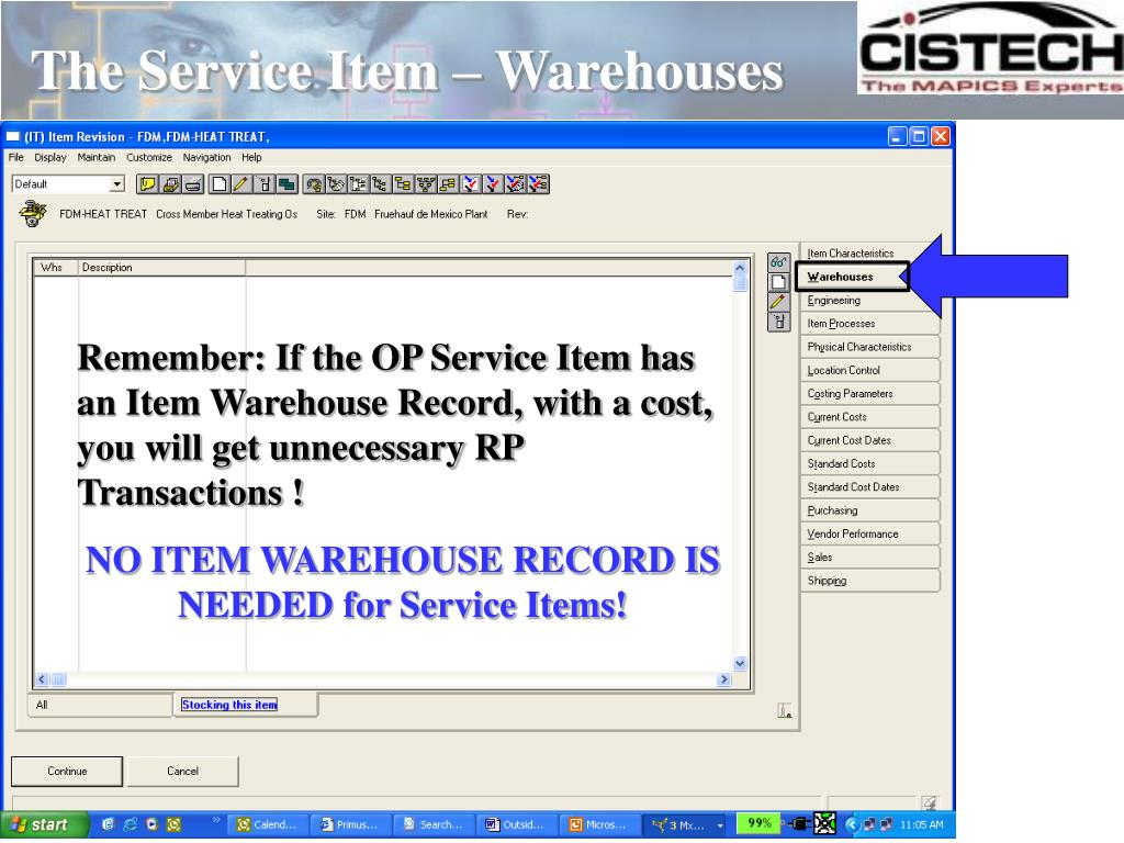 The Service Item – Warehouses