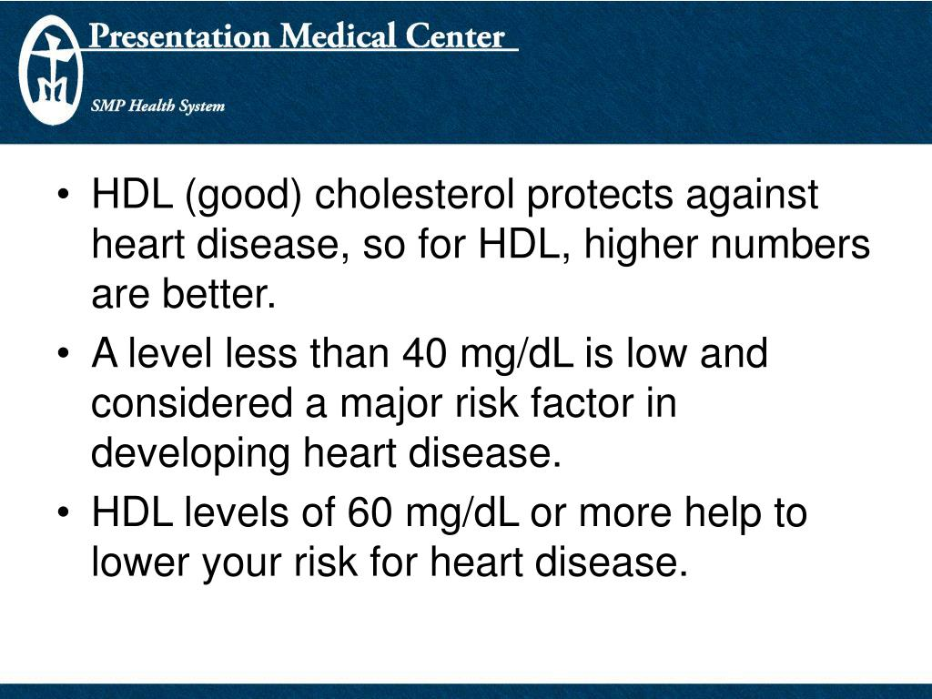 HDL (good) cholesterol protects against heart disease, so for HDL, higher numbers are better.