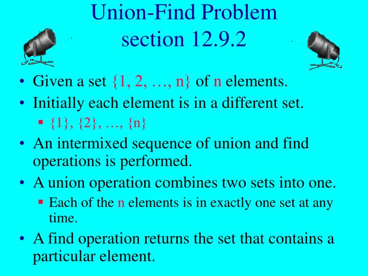 Union find problem section 12 9 2
