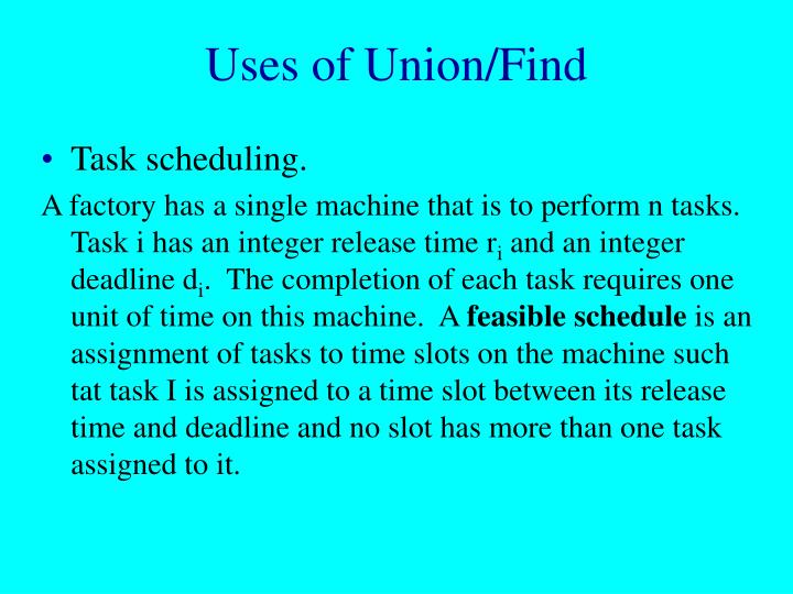 Uses of union find