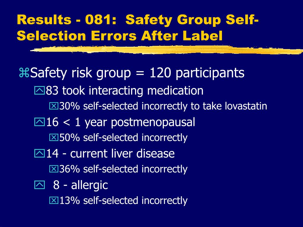 Results - 081:  Safety Group Self-Selection Errors After Label