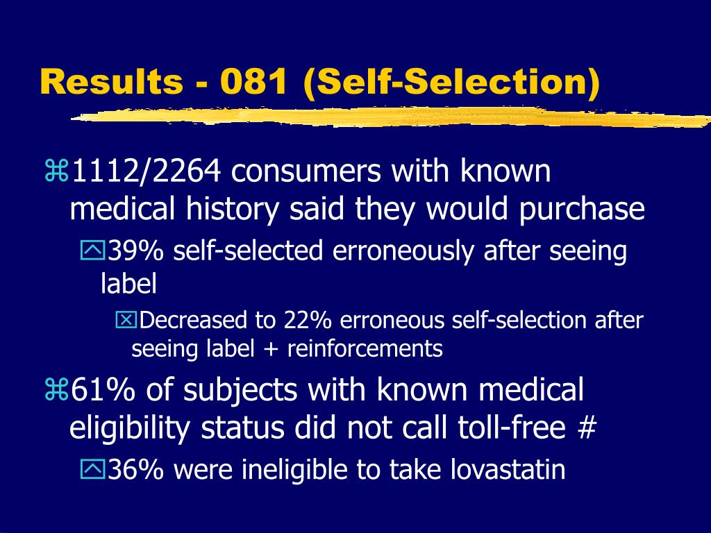 Results - 081 (Self-Selection)