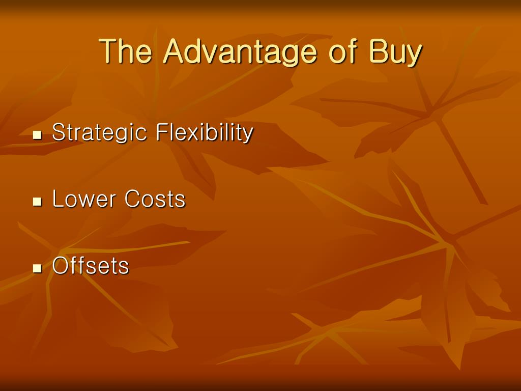 The Advantage of Buy