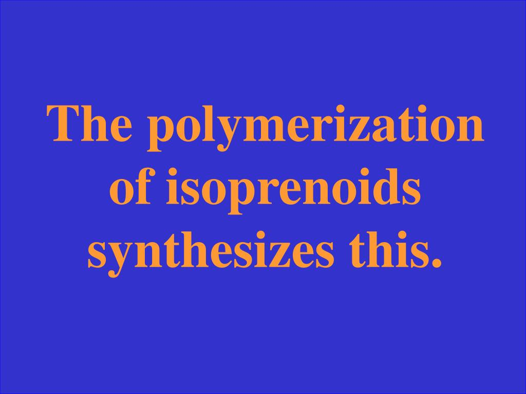 The polymerization of isoprenoids synthesizes this.