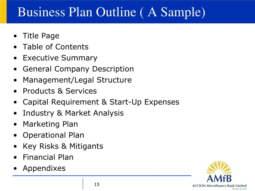 Business Plan Outline ( A Sample)