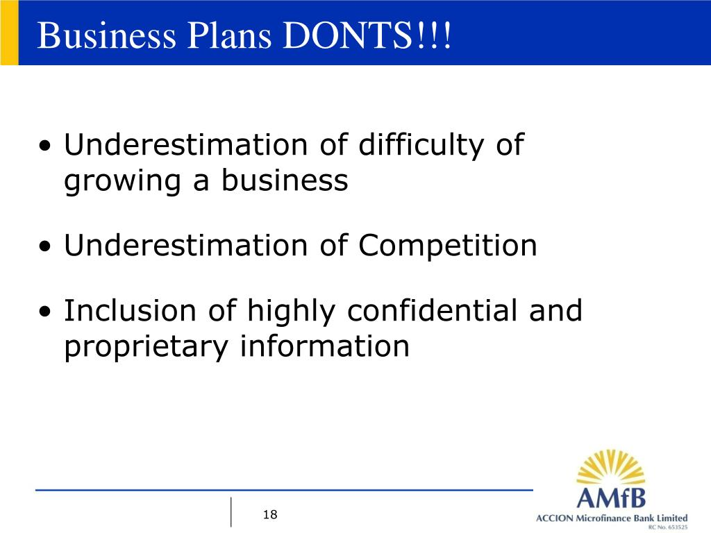 Business Plans DONTS!!!