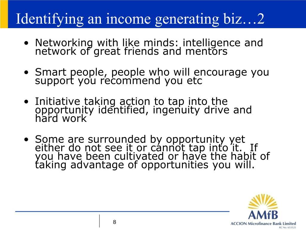 Identifying an income generating biz…2