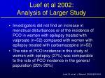 luef et al 2002 analysis of larger study