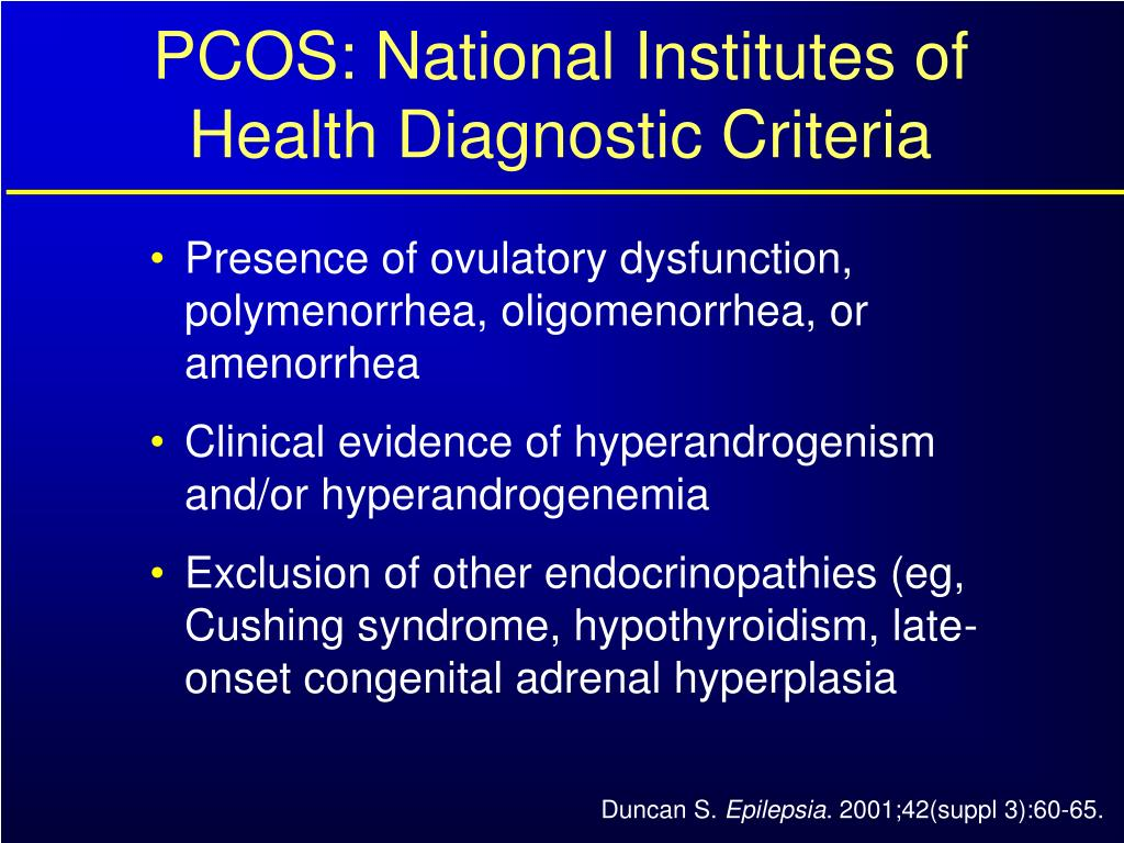 PCOS: National Institutes of Health Diagnostic Criteria