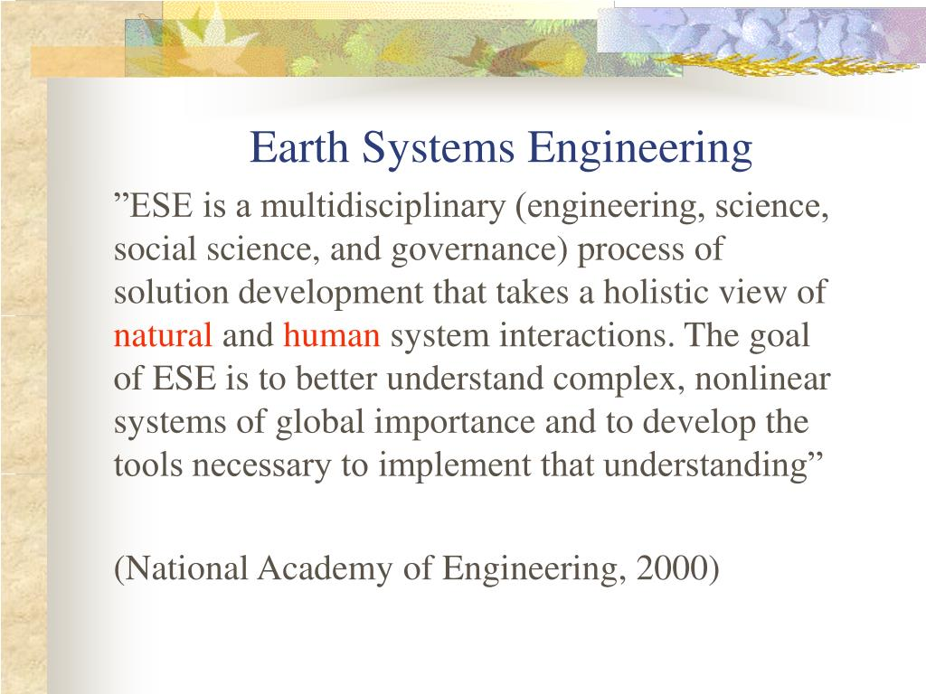 Earth Systems Engineering