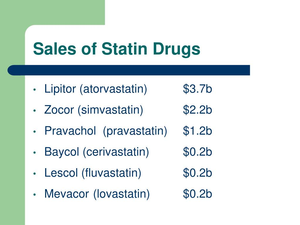 Sales of Statin Drugs