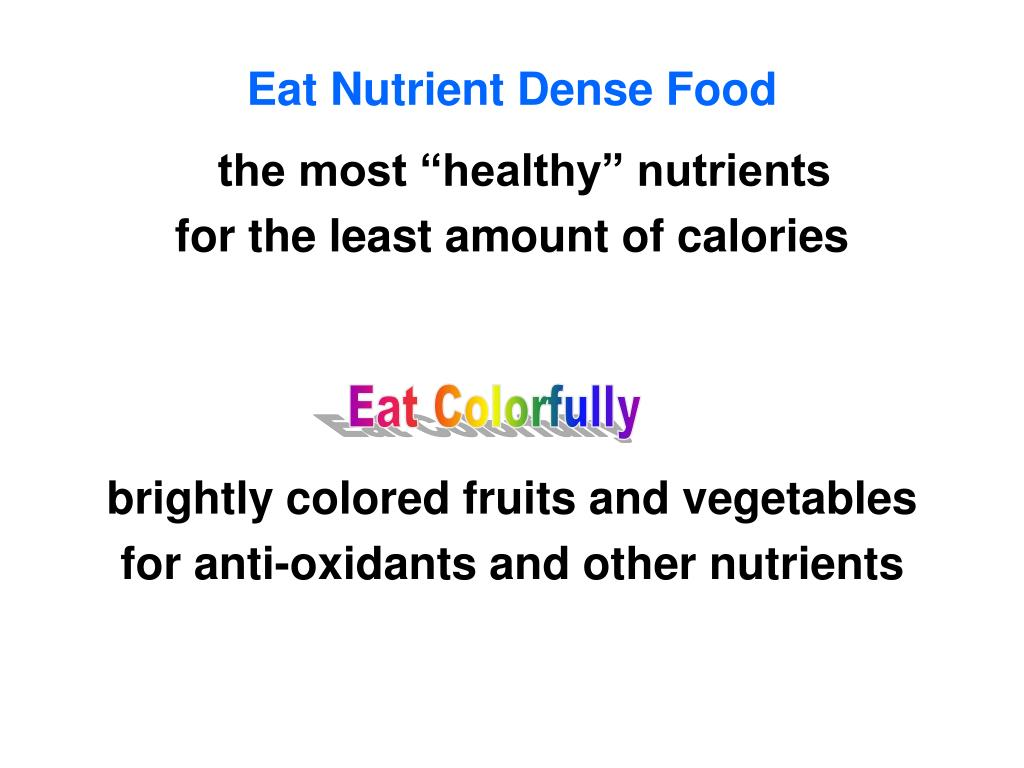 Eat Nutrient Dense Food