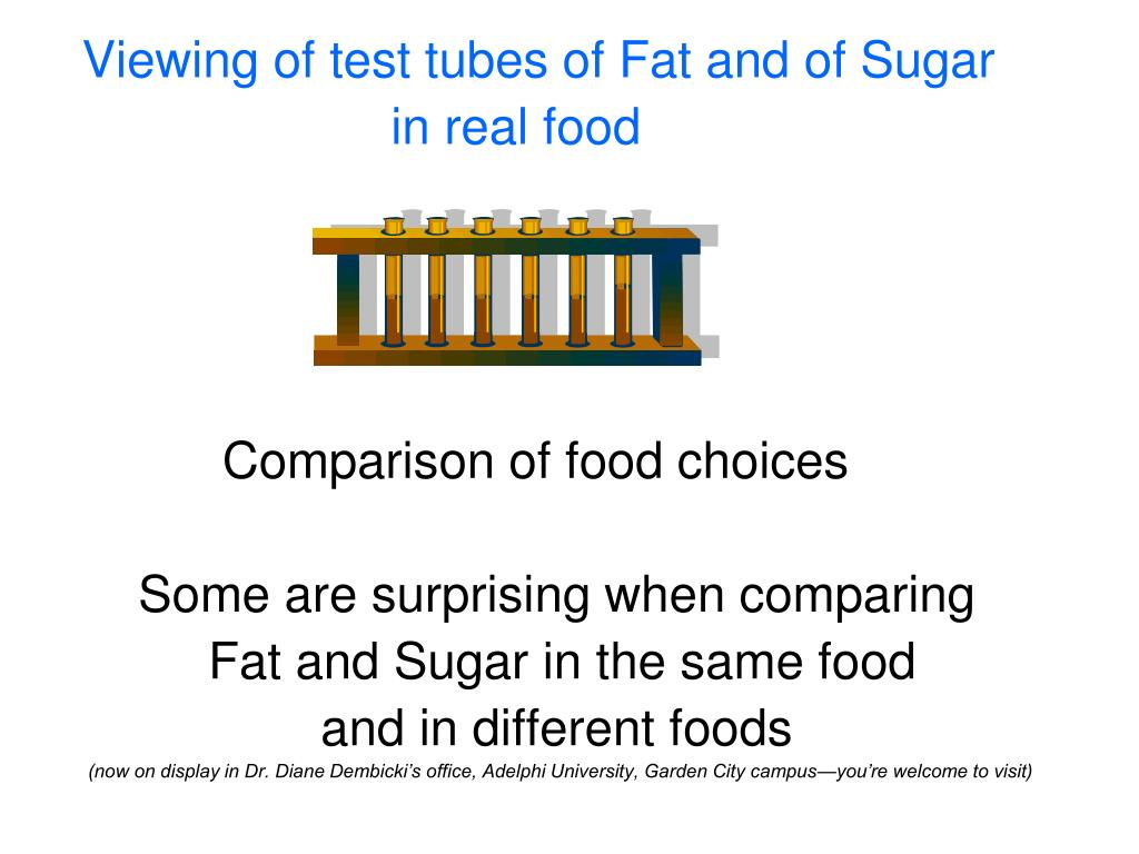 Viewing of test tubes of Fat and of Sugar