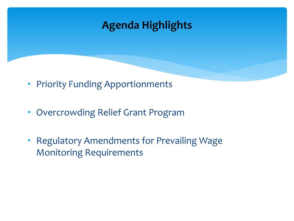 Agenda Highlights