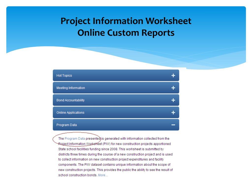 Project Information Worksheet