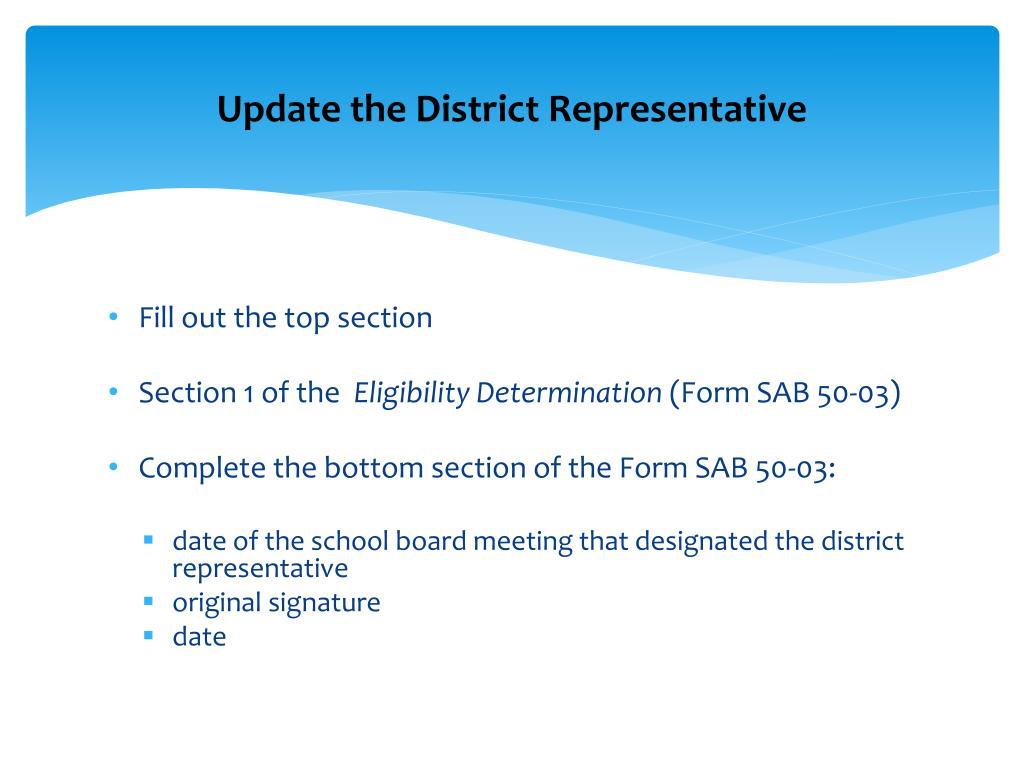 Update the District Representative