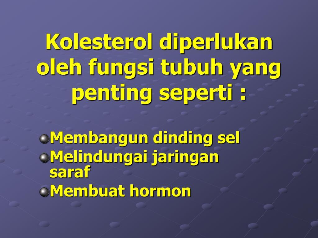 Kolesterol diperlukan oleh fungsi tubuh yang penting seperti :
