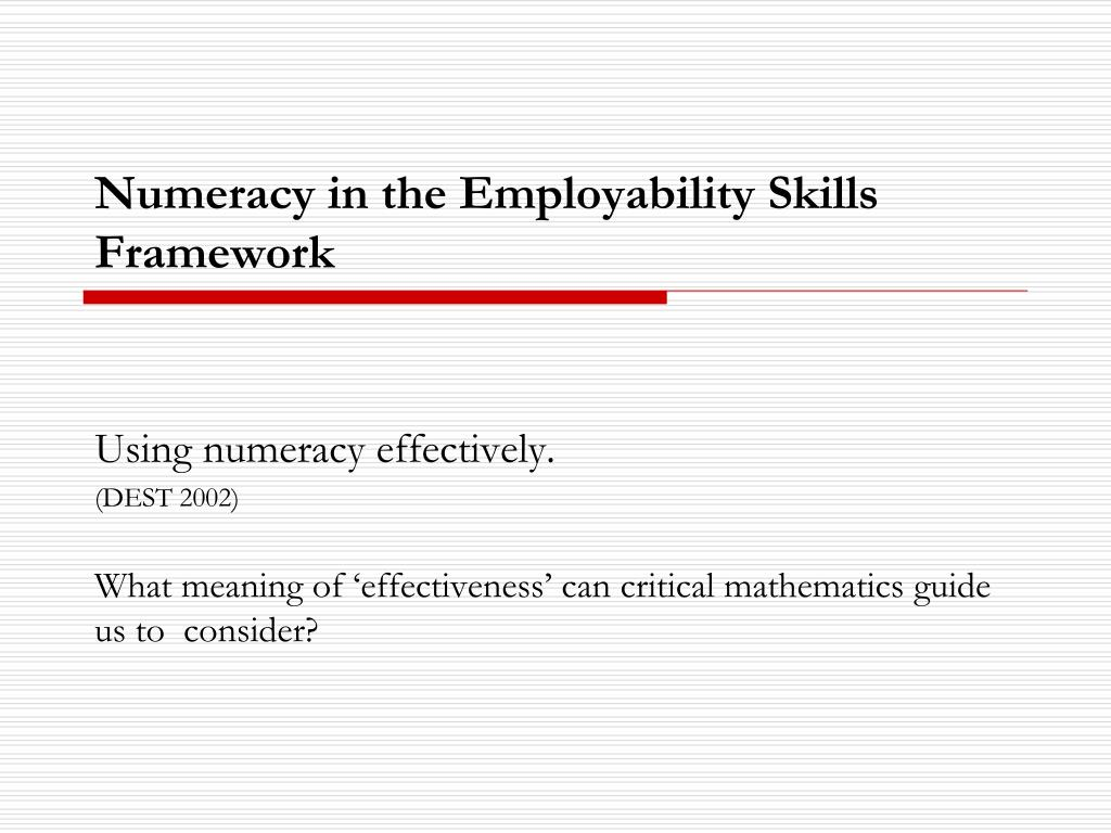 Numeracy in the Employability Skills Framework