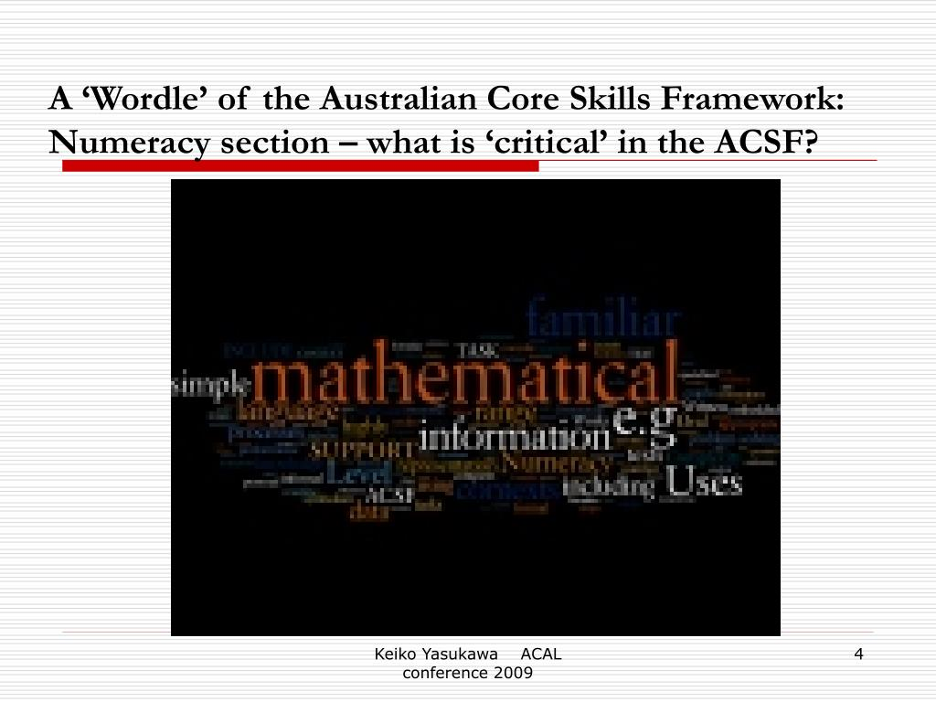 A 'Wordle' of the Australian Core Skills Framework: Numeracy section – what is 'critical' in the ACSF?