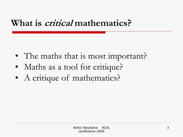 What is critical mathematics