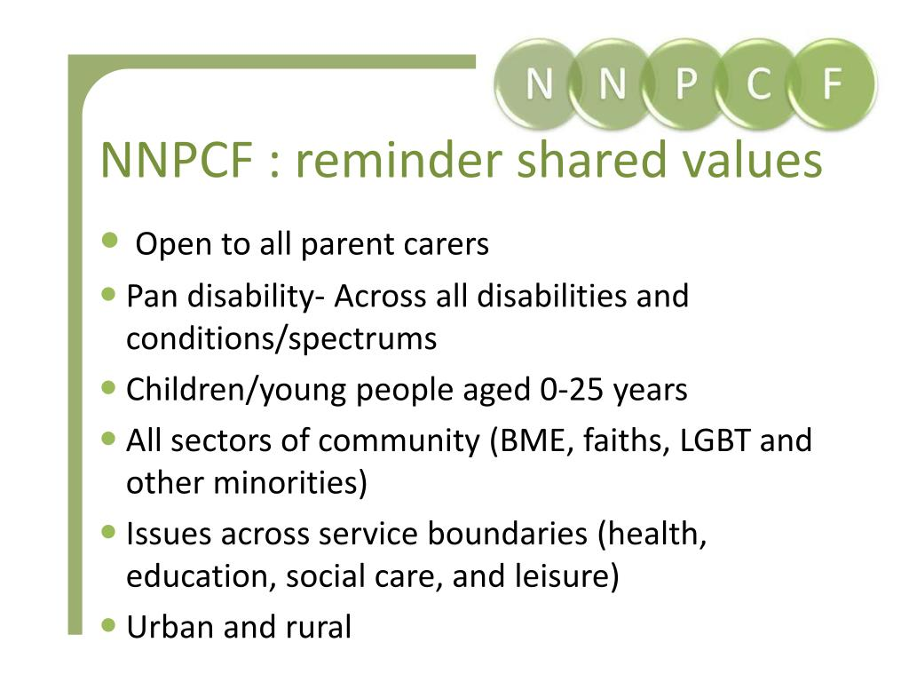 NNPCF : reminder shared values