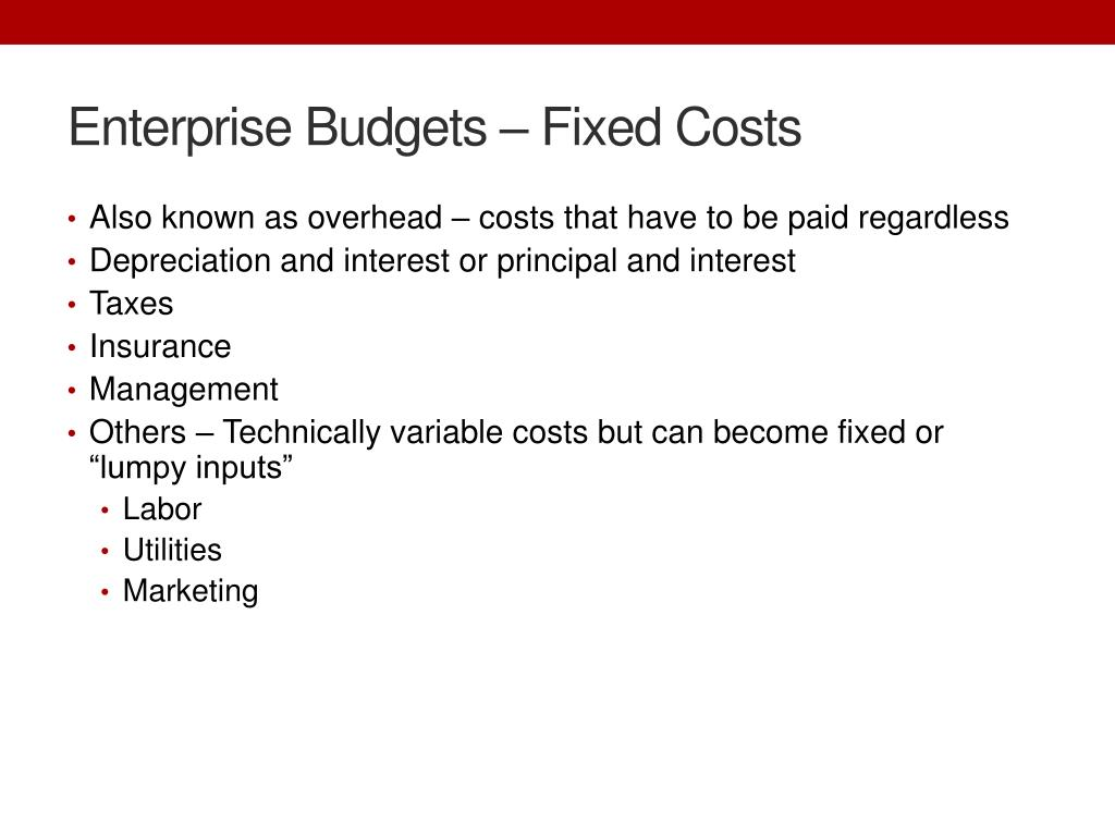 Enterprise Budgets – Fixed Costs