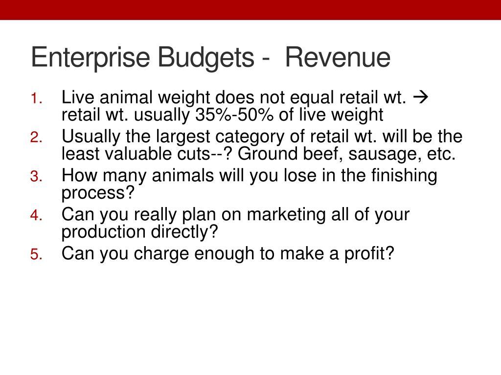 Enterprise Budgets -  Revenue