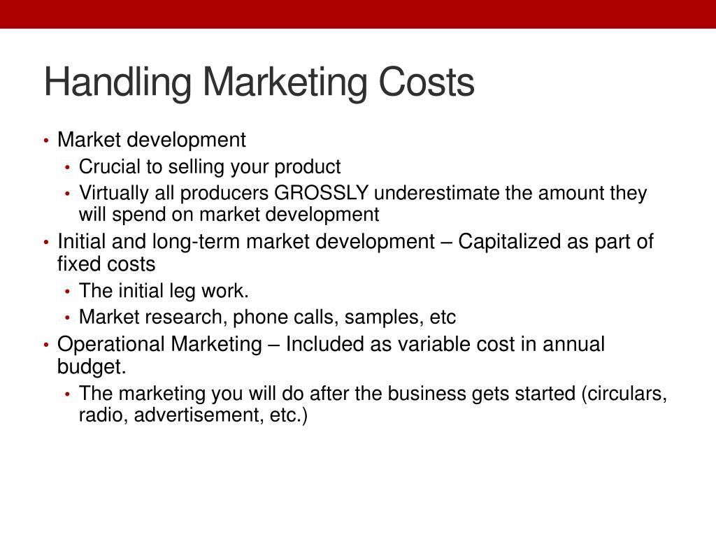 Handling Marketing Costs