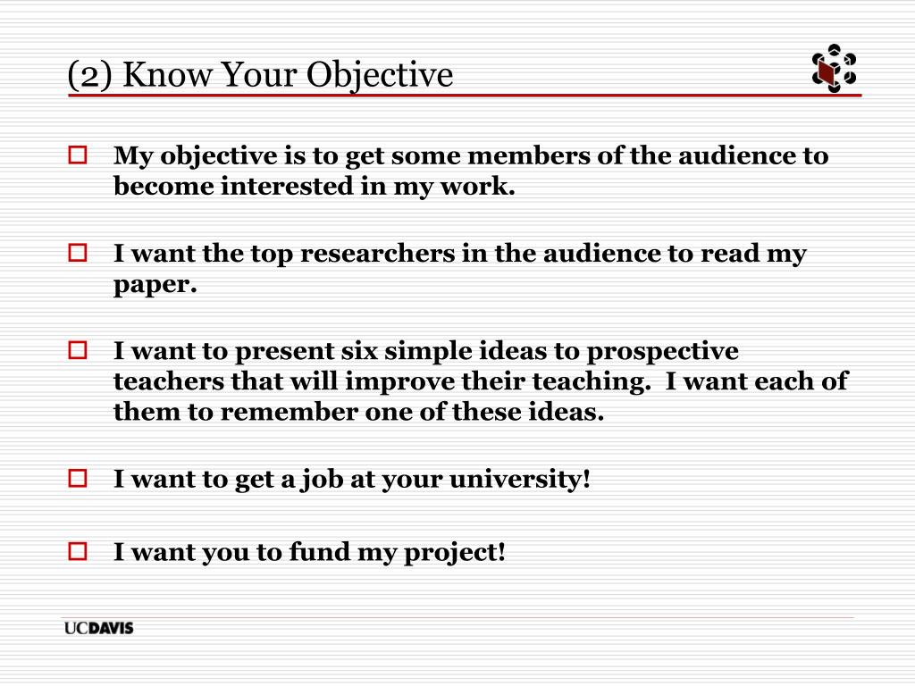 (2) Know Your Objective