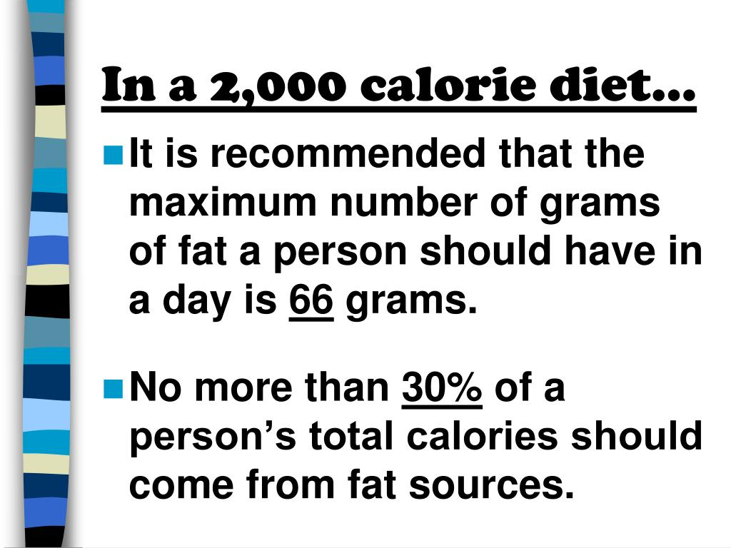 In a 2,000 calorie diet…