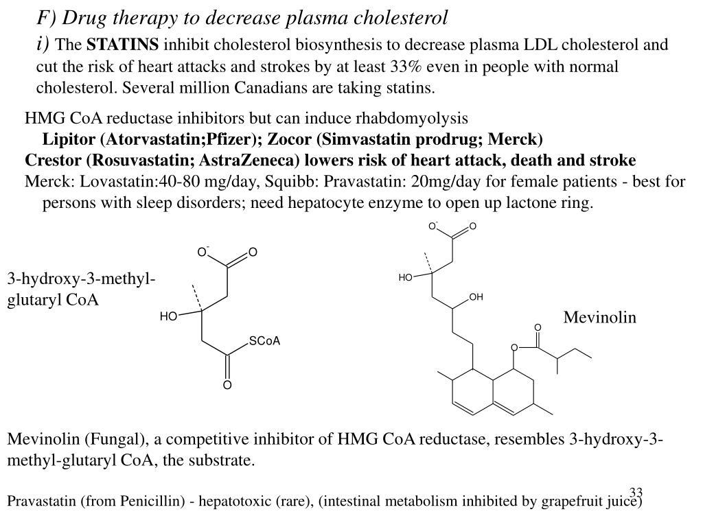 F) Drug therapy to decrease plasma cholesterol