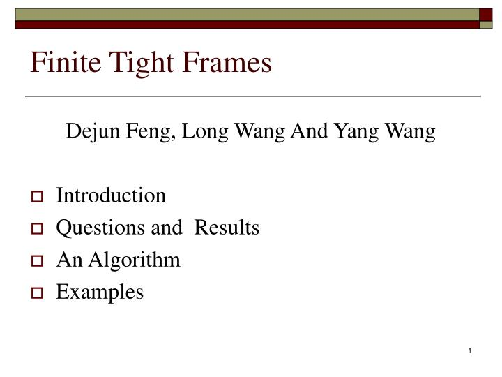 Finite tight frames