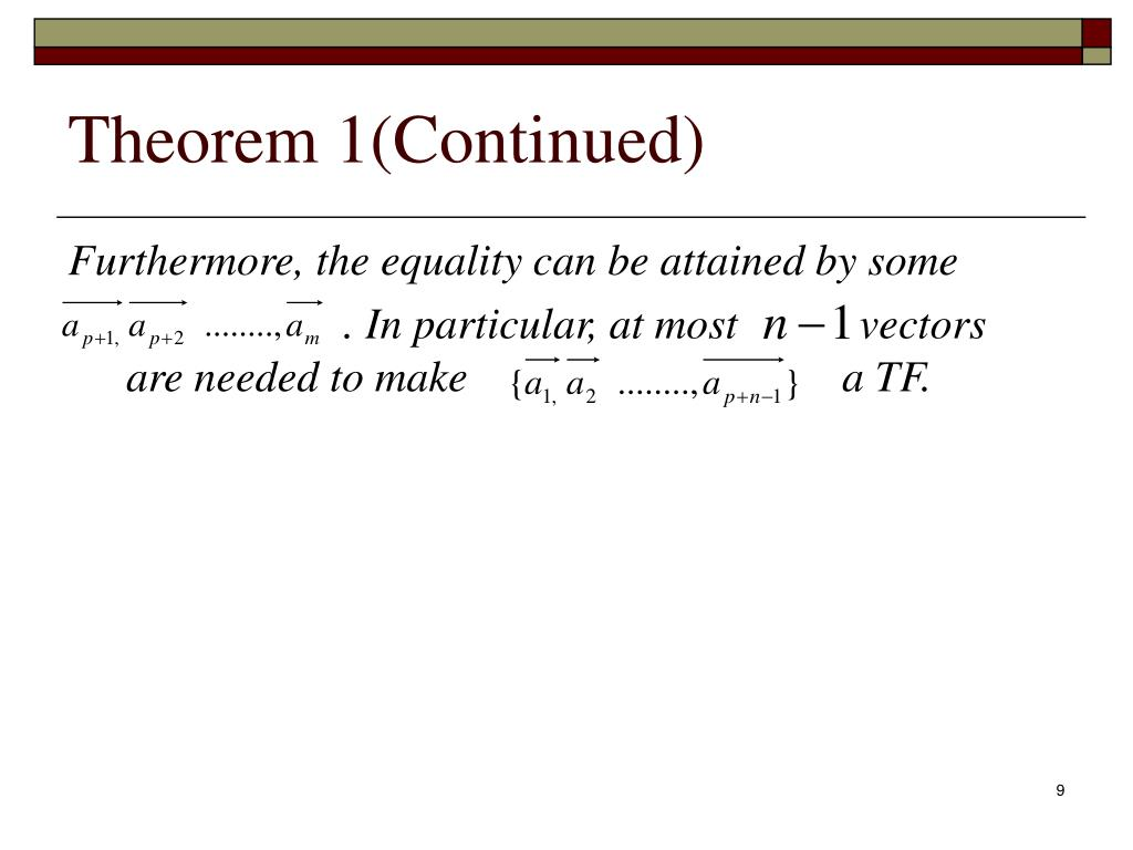 Theorem 1(Continued)