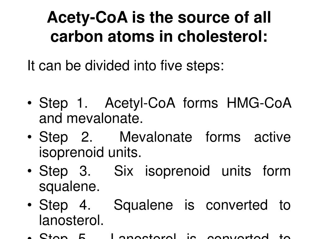 Acety-CoA is the source of all carbon atoms in cholesterol: