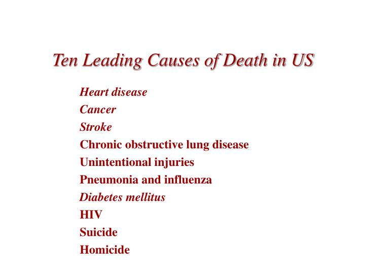 Ten leading causes of death in us