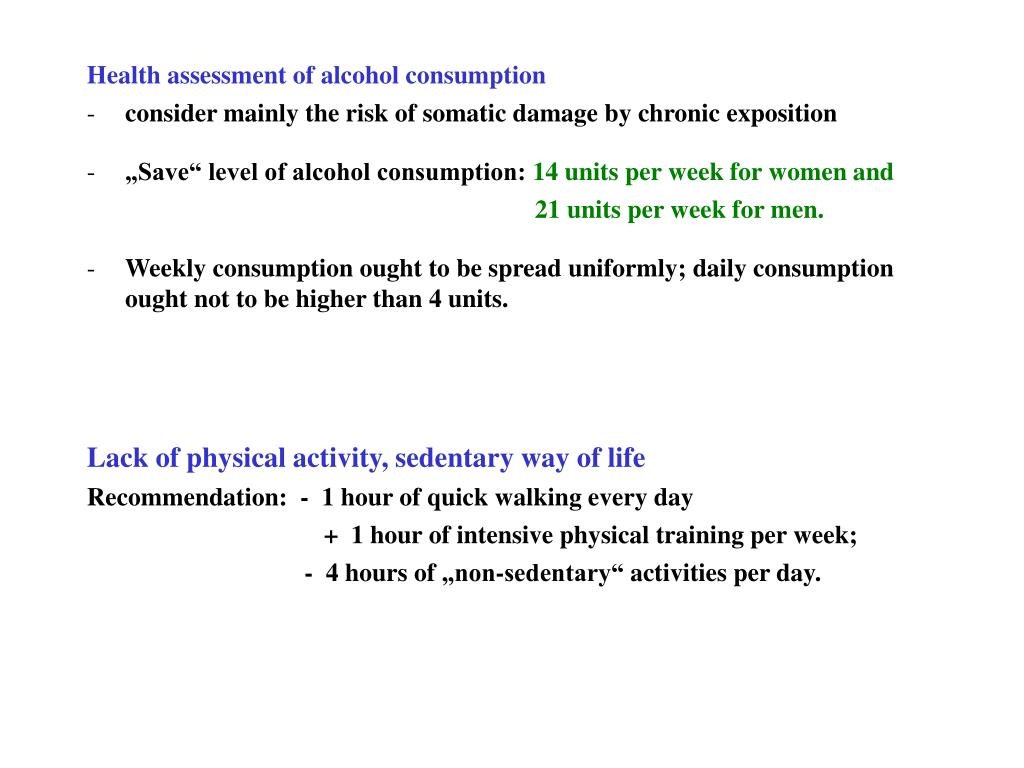 Health assessment of alcohol consumption